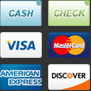 Cash, Check, Visa, MasterCard, American Express and Discover.